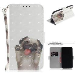 Pug Dog 3D Painted Leather Wallet Phone Case for iPhone XS Max (6.5 inch)