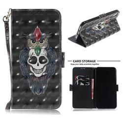Skull Cat 3D Painted Leather Wallet Phone Case for iPhone XS Max (6.5 inch)