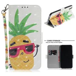 Pineapple Glasses 3D Painted Leather Wallet Phone Case for iPhone XS Max (6.5 inch)