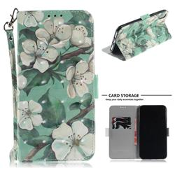 Watercolor Flower 3D Painted Leather Wallet Phone Case for iPhone XS Max (6.5 inch)