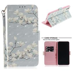 Magnolia Flower 3D Painted Leather Wallet Phone Case for iPhone XS Max (6.5 inch)