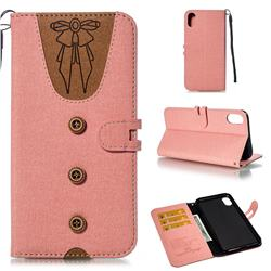 Ladies Bow Clothes Pattern Leather Wallet Phone Case for iPhone XS Max (6.5 inch) - Pink