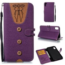 Ladies Bow Clothes Pattern Leather Wallet Phone Case for iPhone XS Max (6.5 inch) - Purple