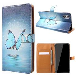 Sea Blue Butterfly Leather Wallet Case for iPhone XS Max (6.5 inch)
