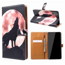 Moon Wolf Leather Wallet Case for iPhone XS Max (6.5 inch)