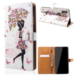 Flower Umbrella Girl Leather Wallet Case for iPhone XS Max (6.5 inch)