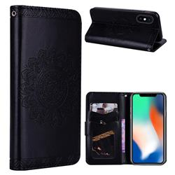 Embossed Datura Flower PU Leather Wallet Case for iPhone XS Max (6.5 inch) - Black