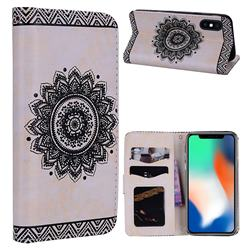 Embossed Datura Flower PU Leather Wallet Case for iPhone XS Max (6.5 inch) - White