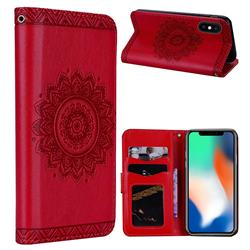 Embossed Datura Flower PU Leather Wallet Case for iPhone XS Max (6.5 inch) - Red