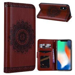 Embossed Datura Flower PU Leather Wallet Case for iPhone XS Max (6.5 inch) - Brown