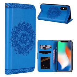 Embossed Datura Flower PU Leather Wallet Case for iPhone XS Max (6.5 inch) - Blue
