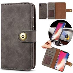 Luxury Vintage Split Separated Leather Wallet Case for iPhone XS Max (6.5 inch) - Black