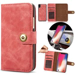 Luxury Vintage Split Separated Leather Wallet Case for iPhone XS Max (6.5 inch) - Carmine