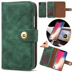 Luxury Vintage Split Separated Leather Wallet Case for iPhone XS Max (6.5 inch) - Dark Green