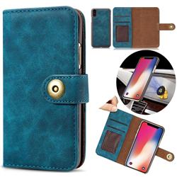 Luxury Vintage Split Separated Leather Wallet Case for iPhone XS Max (6.5 inch) - Navy Blue