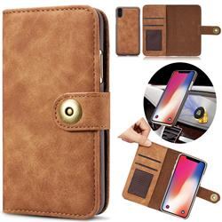 Luxury Vintage Split Separated Leather Wallet Case for iPhone XS Max (6.5 inch) - Brown