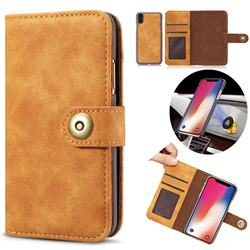 Luxury Vintage Split Separated Leather Wallet Case for iPhone XS Max (6.5 inch) - Khaki