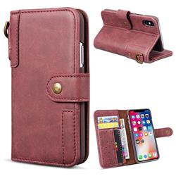 Retro Luxury Cowhide Leather Wallet Case for iPhone XS Max (6.5 inch) - Wine Red