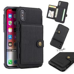 Brush Multi-function Leather Phone Case for iPhone XS Max (6.5 inch) - Black