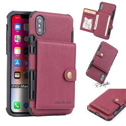 Brush Multi-function Leather Phone Case for iPhone XS Max (6.5 inch) - Wine Red