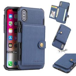 Brush Multi-function Leather Phone Case for iPhone XS Max (6.5 inch) - Blue