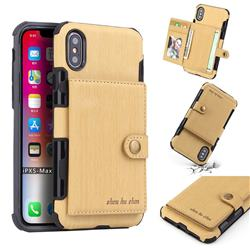 Brush Multi-function Leather Phone Case for iPhone XS Max (6.5 inch) - Golden