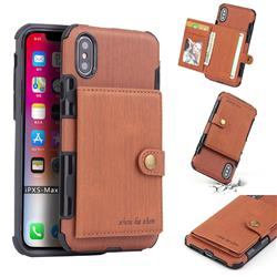 Brush Multi-function Leather Phone Case for iPhone XS Max (6.5 inch) - Brown