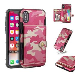 Camouflage Multi-function Leather Phone Case for iPhone XS Max (6.5 inch) - Rose