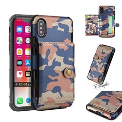 Camouflage Multi-function Leather Phone Case for iPhone XS Max (6.5 inch) - Blue