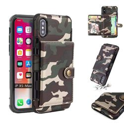 Camouflage Multi-function Leather Phone Case for iPhone XS Max (6.5 inch) - Army Green