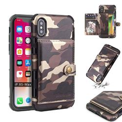 Camouflage Multi-function Leather Phone Case for iPhone XS Max (6.5 inch) - Coffee