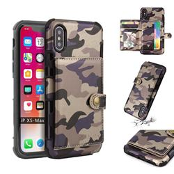 Camouflage Multi-function Leather Phone Case for iPhone XS Max (6.5 inch) - Purple