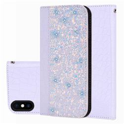 Shiny Crocodile Pattern Stitching Magnetic Closure Flip Holster Shockproof Phone Cases for iPhone XS Max (6.5 inch) - White Silver