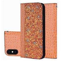 Shiny Crocodile Pattern Stitching Magnetic Closure Flip Holster Shockproof Phone Cases for iPhone XS Max (6.5 inch) - Gold Orange