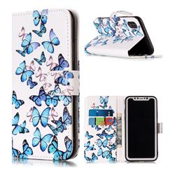 Blue Vivid Butterflies PU Leather Wallet Case for iPhone XS Max (6.5 inch)