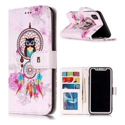 Wind Chimes Owl 3D Relief Oil PU Leather Wallet Case for iPhone XS Max (6.5 inch)
