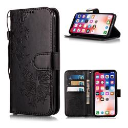 Intricate Embossing Dandelion Butterfly Leather Wallet Case for iPhone XS Max (6.5 inch) - Black
