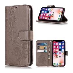 Intricate Embossing Dandelion Butterfly Leather Wallet Case for iPhone XS Max (6.5 inch) - Gray