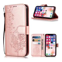 Intricate Embossing Dandelion Butterfly Leather Wallet Case for iPhone XS Max (6.5 inch) - Rose Gold
