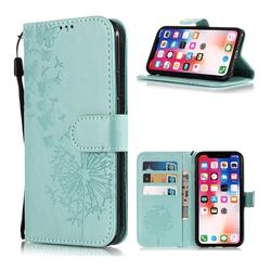 Intricate Embossing Dandelion Butterfly Leather Wallet Case for iPhone XS Max (6.5 inch) - Green