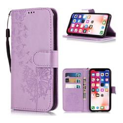 Intricate Embossing Dandelion Butterfly Leather Wallet Case for iPhone XS Max (6.5 inch) - Purple