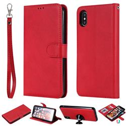 Retro Greek Detachable Magnetic PU Leather Wallet Phone Case for iPhone XS Max (6.5 inch) - Red