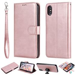 Retro Greek Detachable Magnetic PU Leather Wallet Phone Case for iPhone XS Max (6.5 inch) - Rose Gold