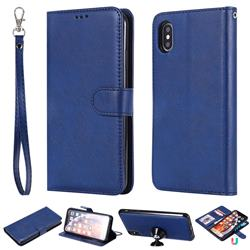 Retro Greek Detachable Magnetic PU Leather Wallet Phone Case for iPhone XS Max (6.5 inch) - Blue