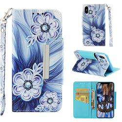 Button Flower Big Metal Buckle PU Leather Wallet Phone Case for iPhone XS Max (6.5 inch)