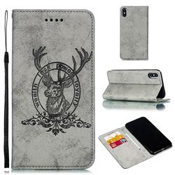 Retro Intricate Embossing Elk Seal Leather Wallet Case for iPhone XS Max (6.5 inch) - Gray