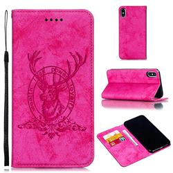 Retro Intricate Embossing Elk Seal Leather Wallet Case for iPhone XS Max (6.5 inch) - Rose