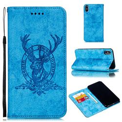 Retro Intricate Embossing Elk Seal Leather Wallet Case for iPhone XS Max (6.5 inch) - Blue