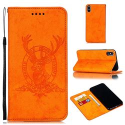 Retro Intricate Embossing Elk Seal Leather Wallet Case for iPhone XS Max (6.5 inch) - Orange