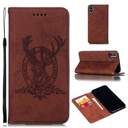 Retro Intricate Embossing Elk Seal Leather Wallet Case for iPhone XS Max (6.5 inch) - Brown